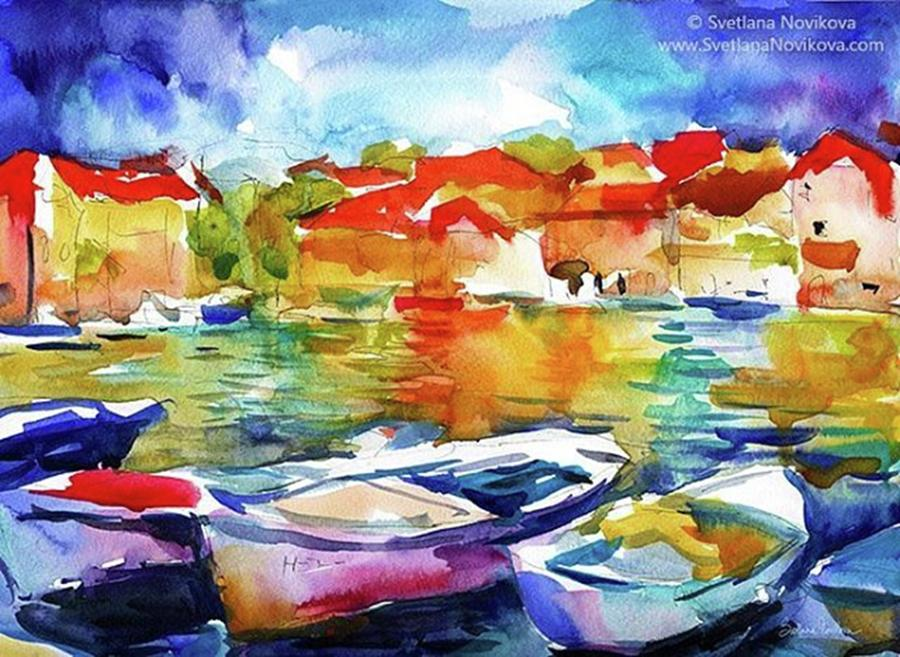 Watercolor Photograph - Watercolor Boats By Svetlana Novikova ( by Svetlana Novikova