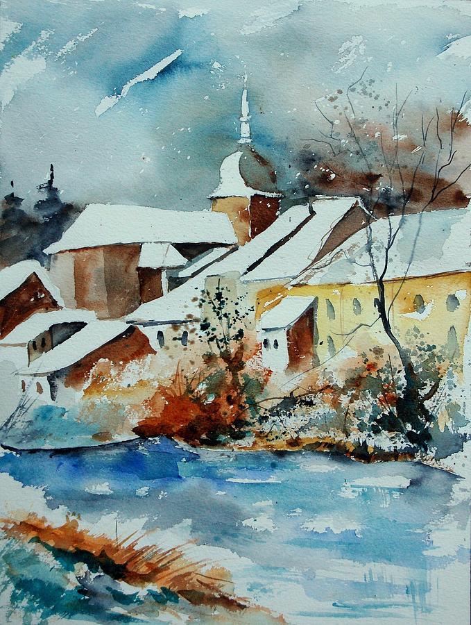 Landscape Painting - Watercolor Chassepierre by Pol Ledent