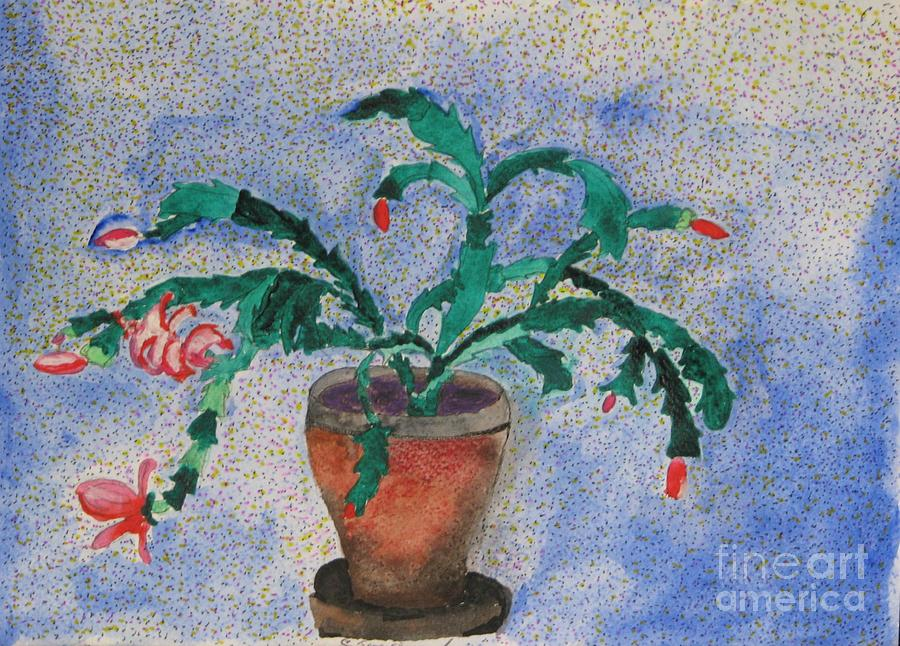 Christmas Mixed Media - Watercolor Christmas Cactus First Bloom by James SheppardIII