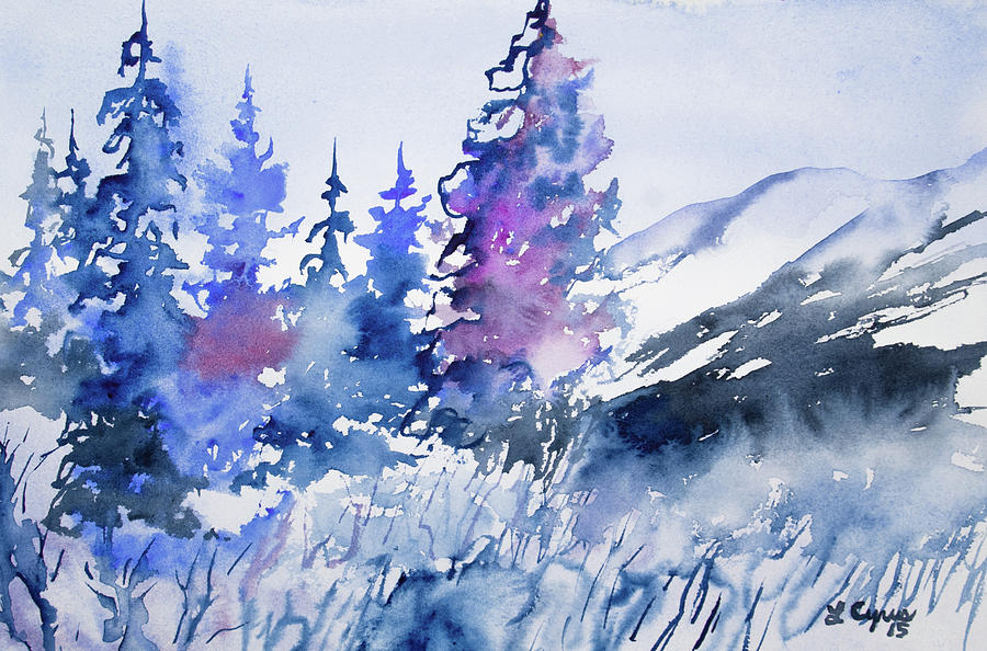 Winter Painting - Watercolor - Colorado Winter Wonderland by Cascade Colors