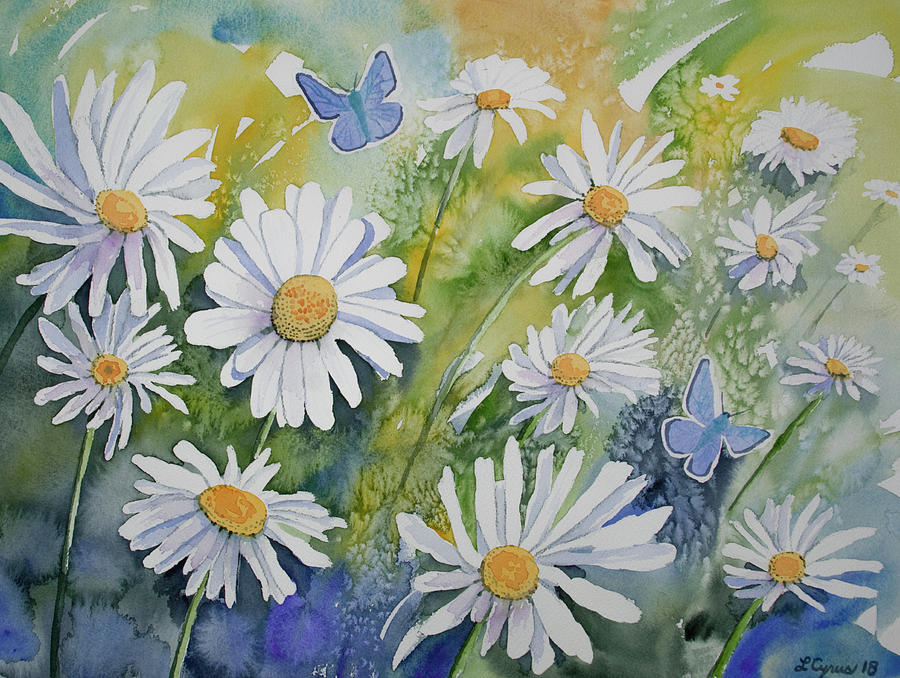 Watercolor - Daisies and Common Blue Butterflies by Cascade Colors