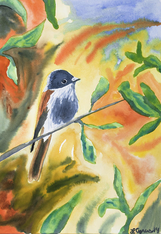 Watercolor - Delicate Perching Bird Painting