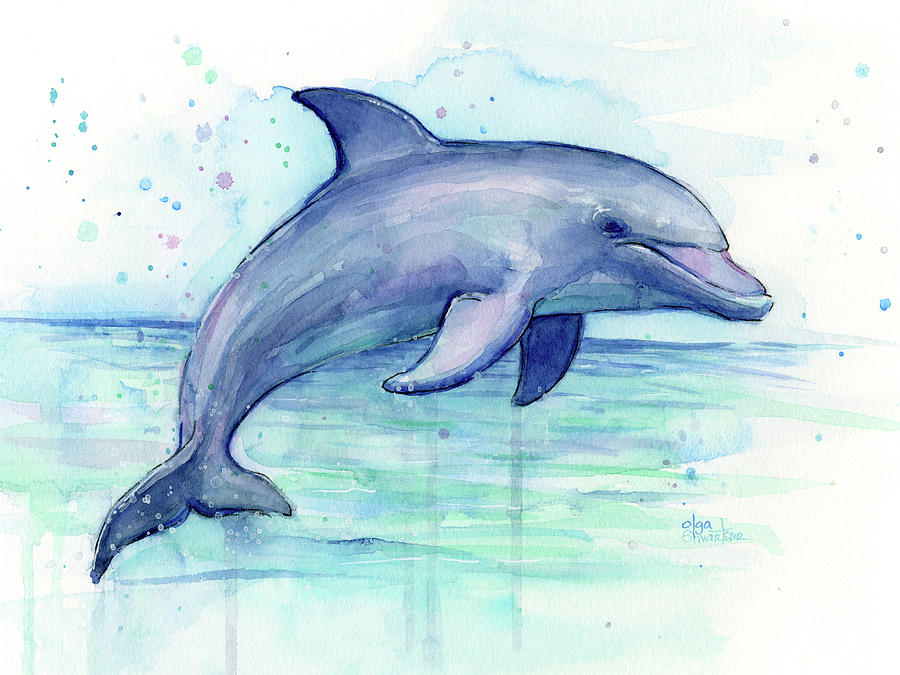 Watercolor Dolphin Painting Facing Right Painting By