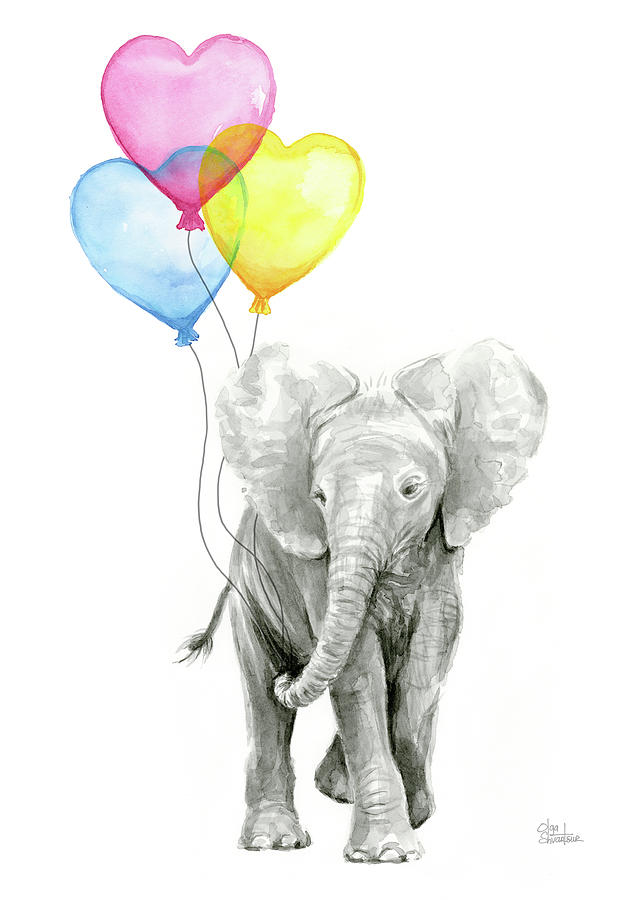 Watercolor Elephant With Heart Shaped Balloons Painting by ...