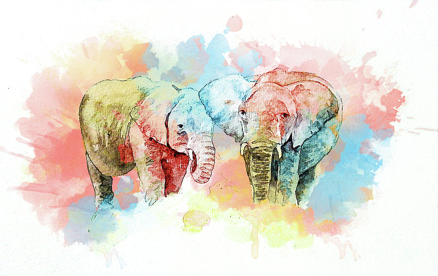 Elephant Painting - Watercolor Elephants by Gallery Hermana