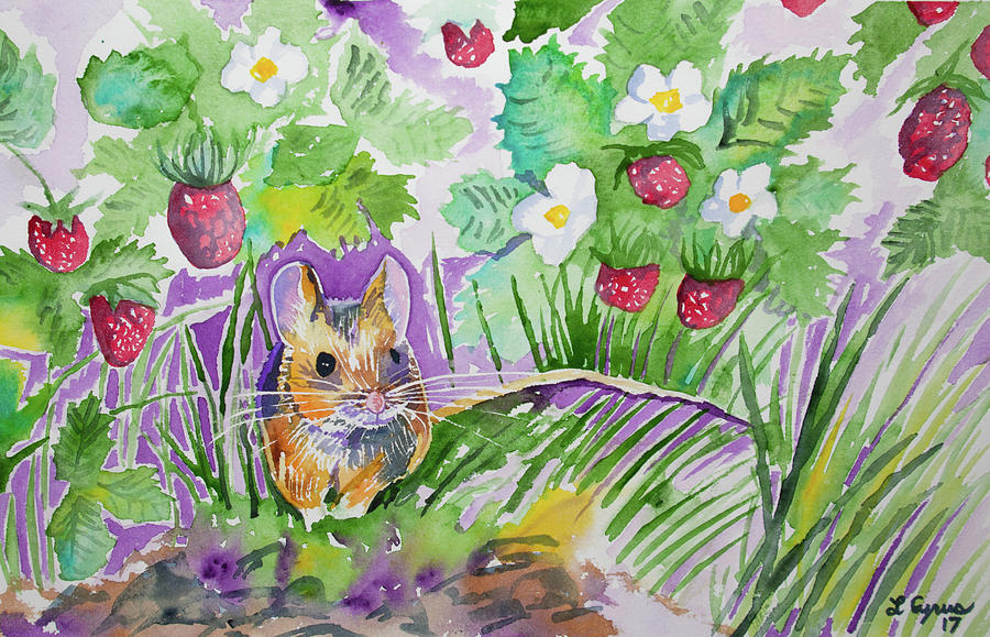 Field Mouse Painting - Watercolor - Field Mouse With Wild Strawberries by Cascade Colors