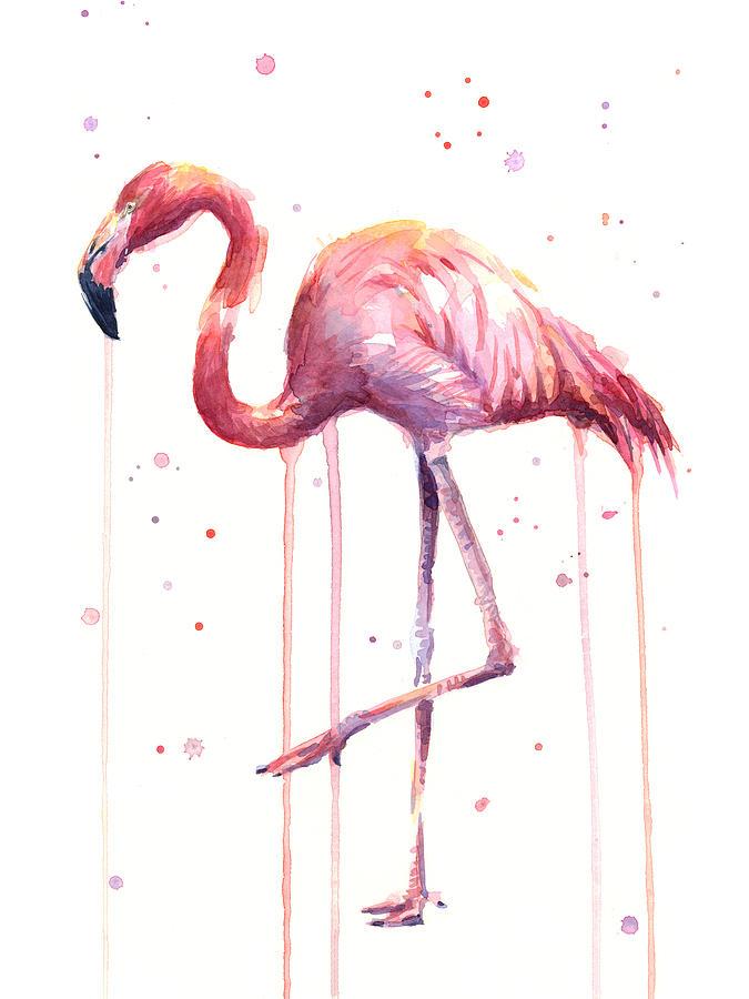 Watercolor Flamingo Painting - Watercolor Flamingo by Olga Shvartsur