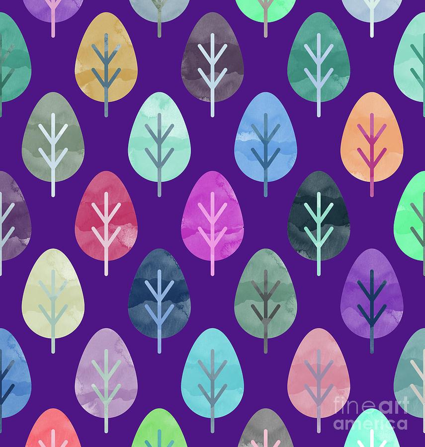 Watercolor Digital Art - Watercolor Forest Pattern II by Amir Faysal