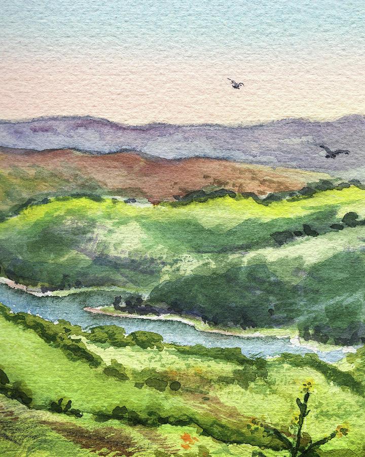Watercolor Hills Of California Painting By Irina Sztukowski