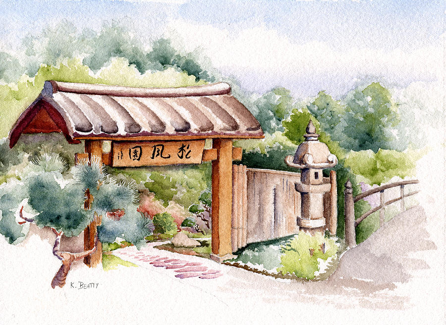 Watercolor Painting   Watercolor Japanese Garden Gate By Karla Beatty