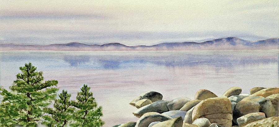 Shore Painting - Watercolor Lake Shore by Irina Sztukowski