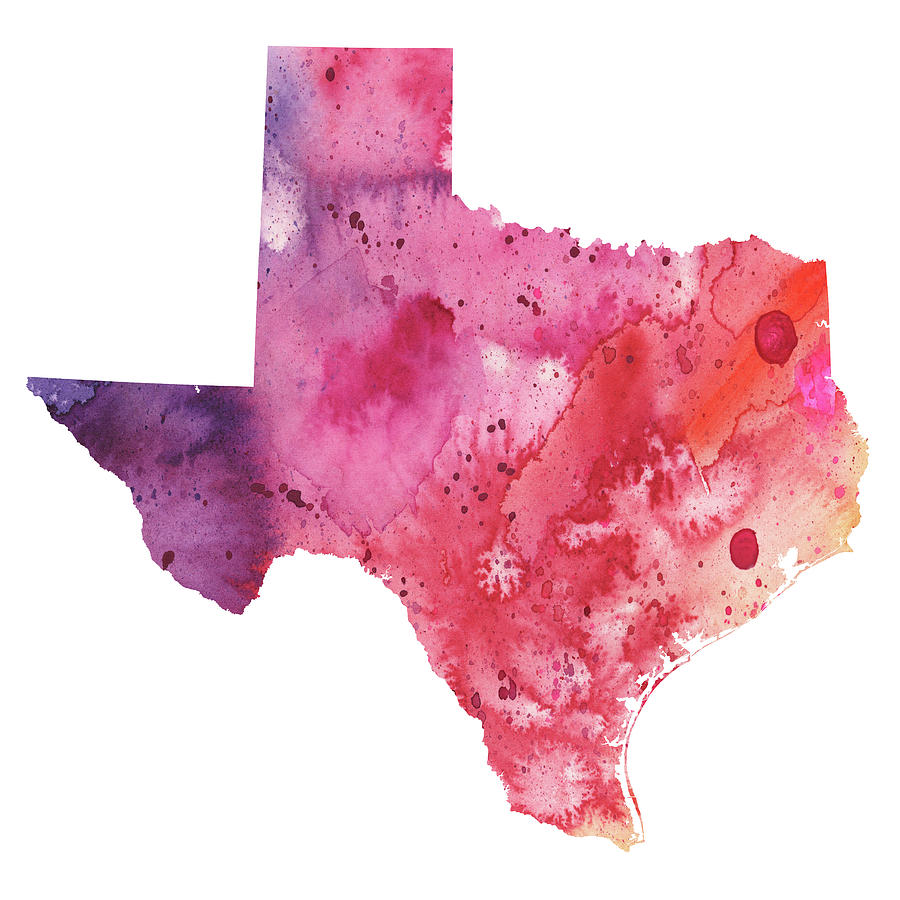 Watercolor artist in texas - Texas Painting Watercolor Map Of Texas In Orange Red And Purple By Andrea