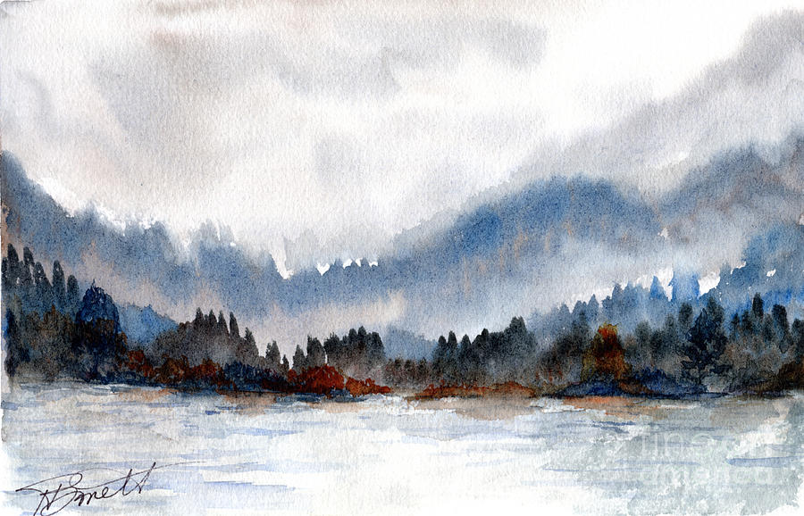 Watercolor Misty Lake And Hills Painting By H Barnett