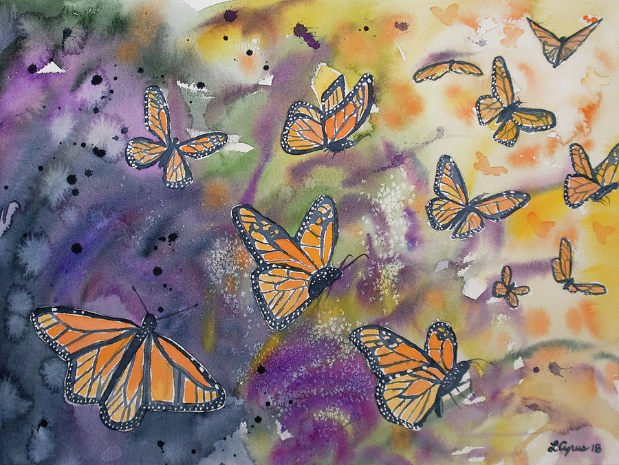 Watercolor- Monarchs in Flight by Cascade Colors