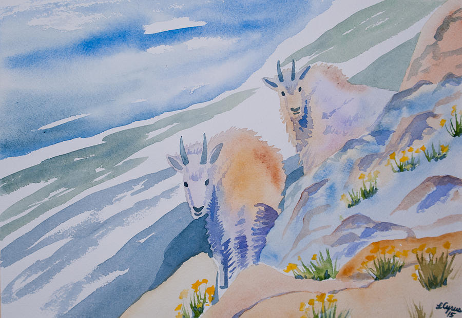 Mountain Goat Painting - Watercolor - Mountain Goats On Quandary by Cascade Colors