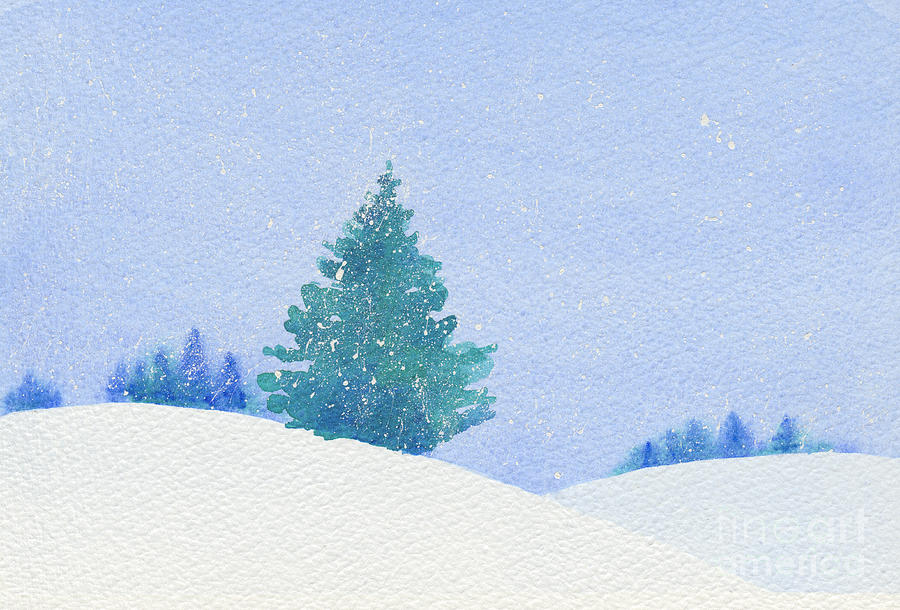 Watercolor Of A Single Christmas Tree In A Snowy Landscape