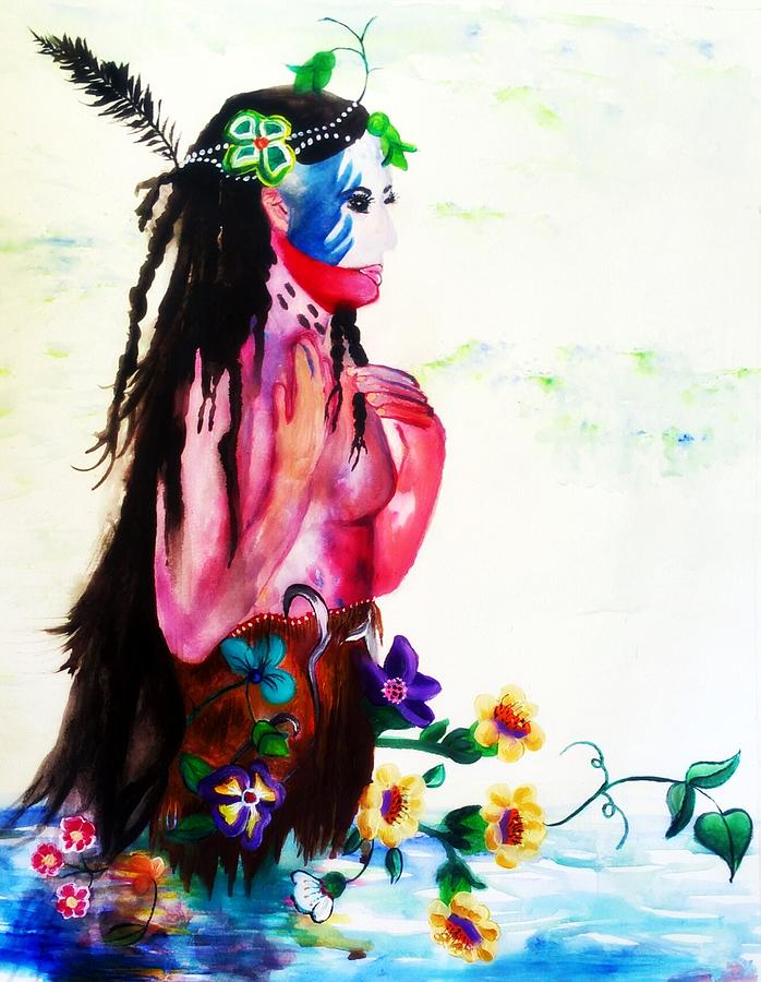 Watercolor Of Chippewa In The Water By Ayasha Loya Painting