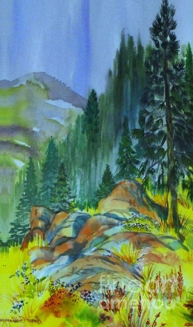 Watercolor Of Mountain Forest Digital Art by Annie Gibbons