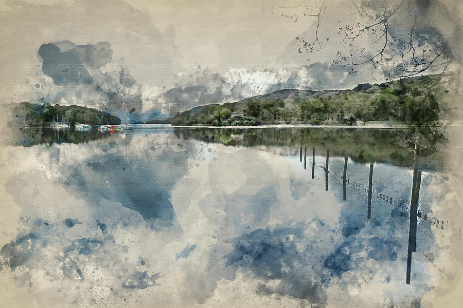 Watercolor Painting Of Calm Moody Evening Landscape Over Coniston Water In Lake District Photograph By Matthew Gibson