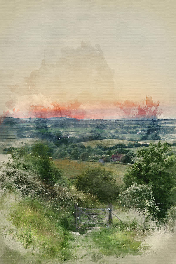 Watercolor Painting Of English Countryside Rural Landscape In Su Photograph By Matthew Gibson
