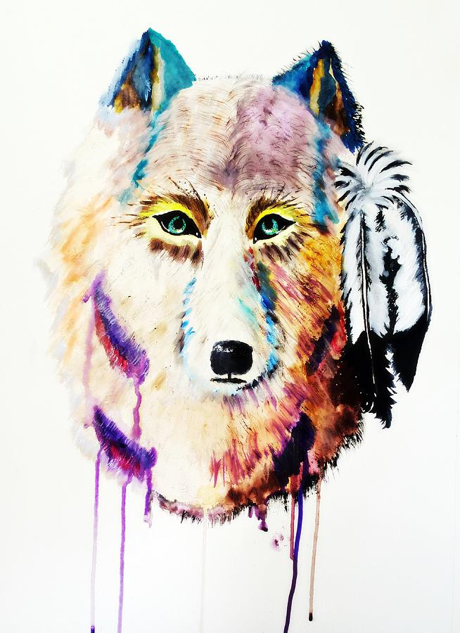 Wolf Painting - Watercolor Painting of Spirit of the Wolf by Ayasha Loya by Ayasha Loya