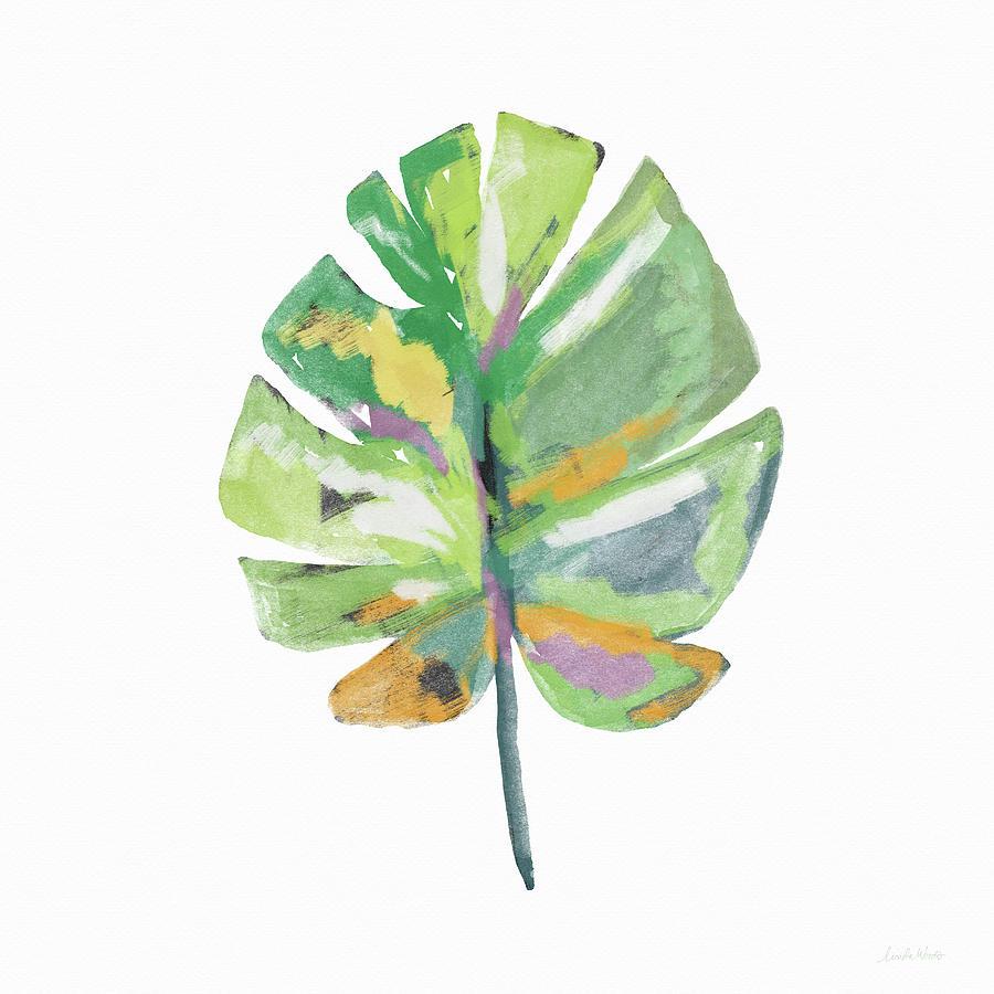 Leaf Mixed Media - Watercolor Palm Leaf- Art by Linda Woods by Linda Woods