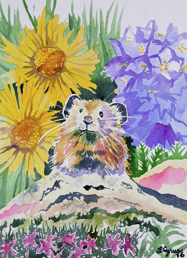 Pika Painting - Watercolor - Pika With Wildflowers by Cascade Colors