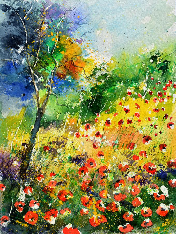 Poppies Painting - Watercolor poppies 518001 by Pol Ledent