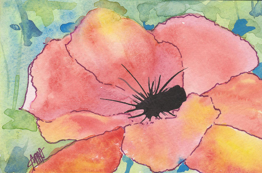 Floral Painting - Watercolor poppy by Maura Satchell