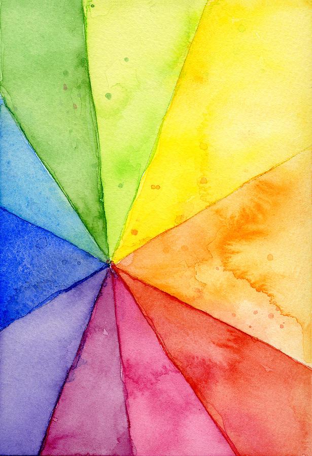 Watercolor Painting - Watercolor Rainbow Beachball Pattern by Olga Shvartsur