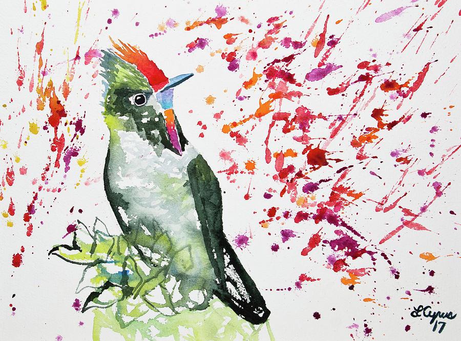 Thornbill Painting - Watercolor - Rainbow Bearded Thornbill by Cascade Colors