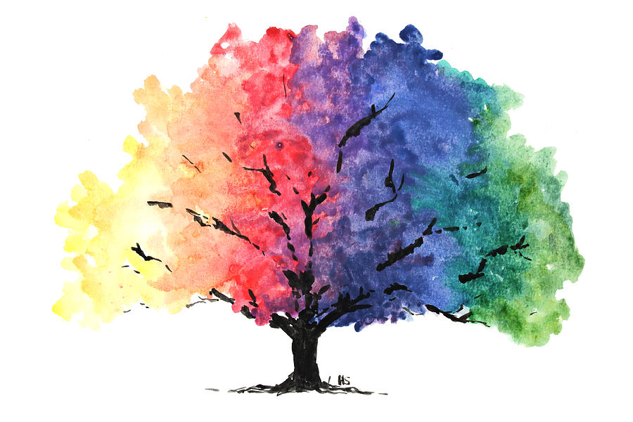 Watercolor Rainbow Tree Painting By Hannah Sutherland