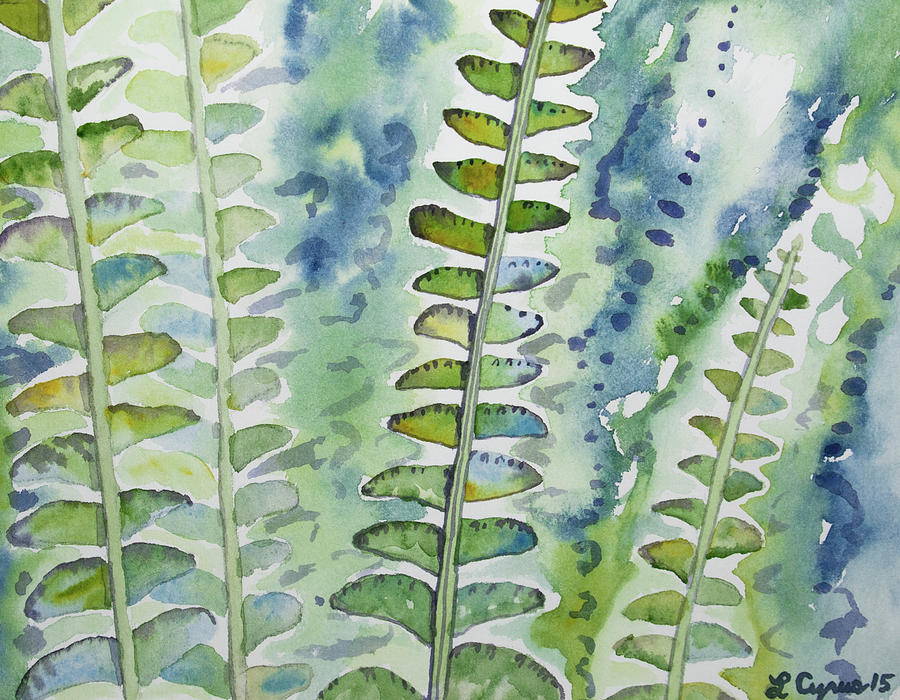 Fern Painting - Watercolor - Rainforest Fern Impressions by Cascade Colors