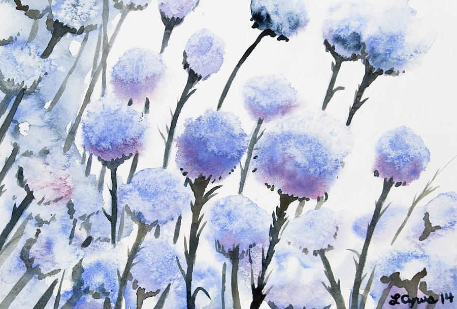 Watercolor - Snow-covered Seed Pods Painting