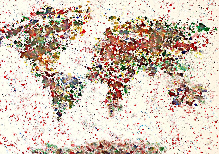 Watercolor Splashes World Map 2 Painting by Georgeta Blanaru