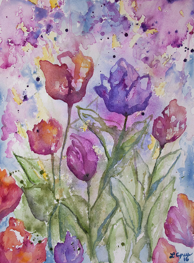 Watercolor Spring Flowers Painting By Cascade Colors