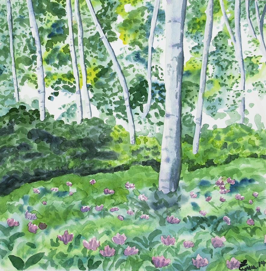Watercolor Spring Forest And Flowers