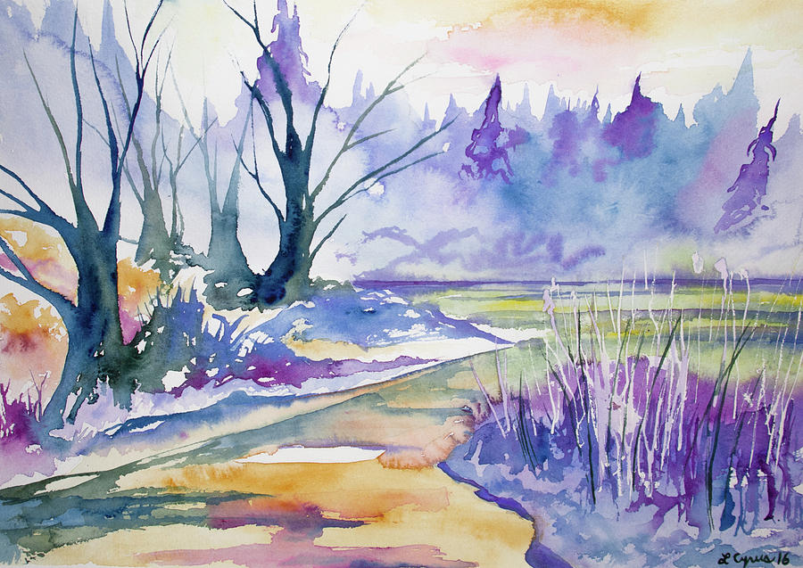 Stream Painting - Watercolor - Stream And Forest by Cascade Colors