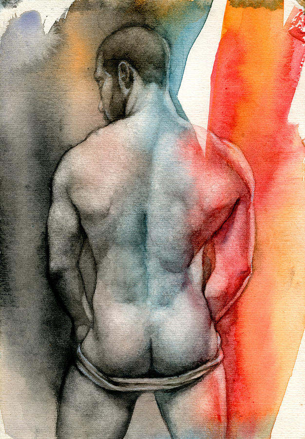 Male Painting - Watercolor Study 6 by Chris Lopez