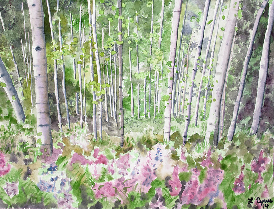 Watercolor - Summer Aspen Glade Painting