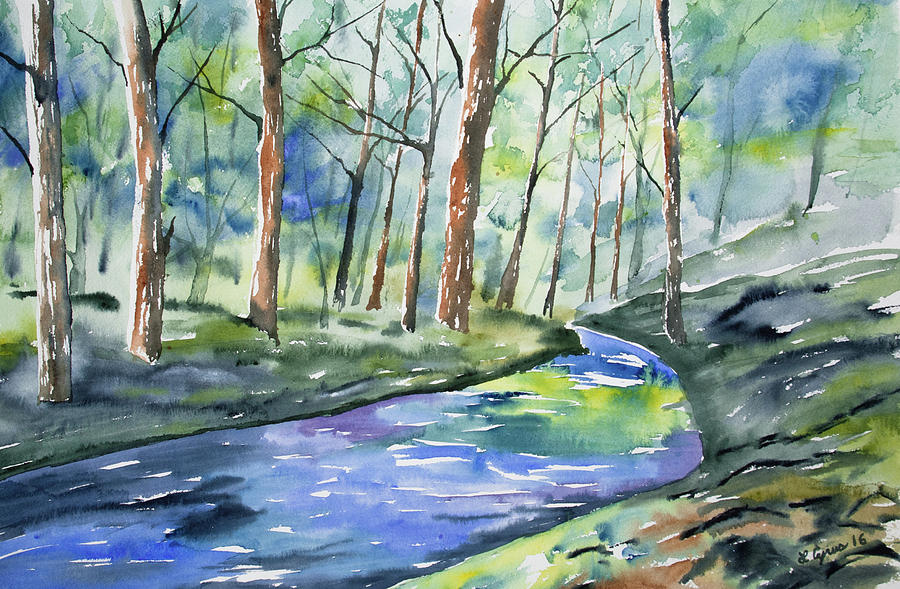 Watercolor - Summer Forest And Stream Painting