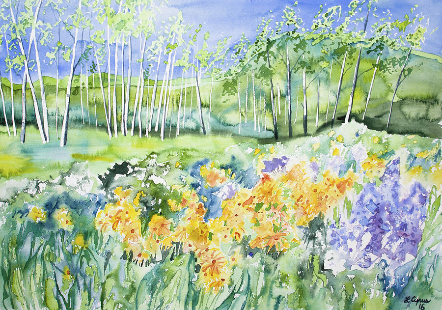 Watercolor - Sunflower, Lupine, And Aspen Landscape Painting