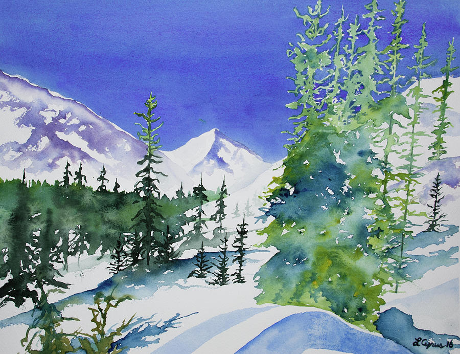 Watercolor - Sunny Winter Day in the Mountains by Cascade Colors