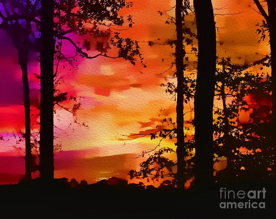 Water Photograph - Watercolor Sunrise by Judi Bagwell