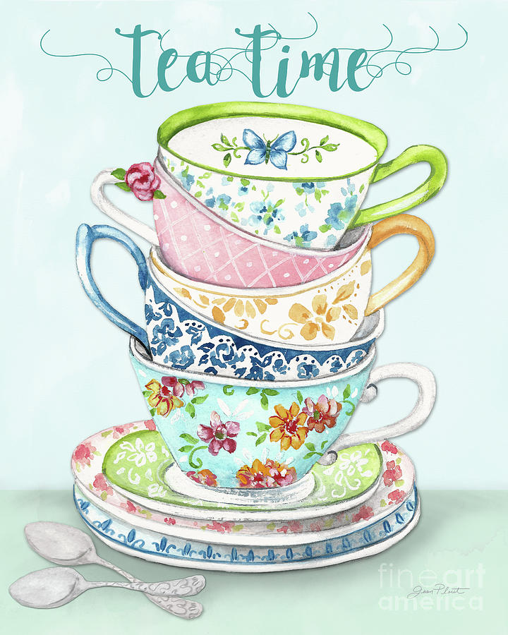 Tea Painting - Watercolor Teacups-a by Jean Plout