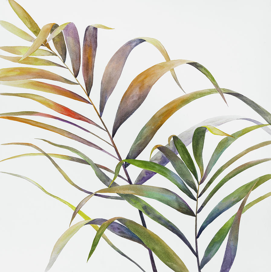 Watercolor Tropical Palm Leaves Painting By Atelier B Art Studio Watercolor tropical leaves banner vector. watercolor tropical palm leaves by atelier b art studio