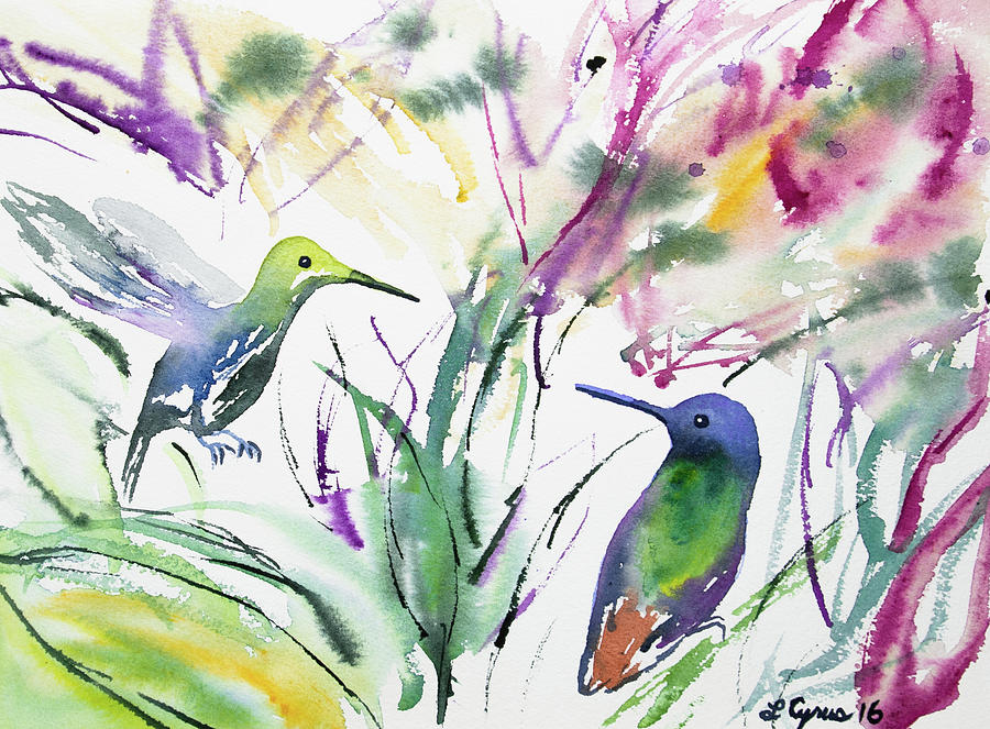 Watercolor - Two Hummingbirds Painting