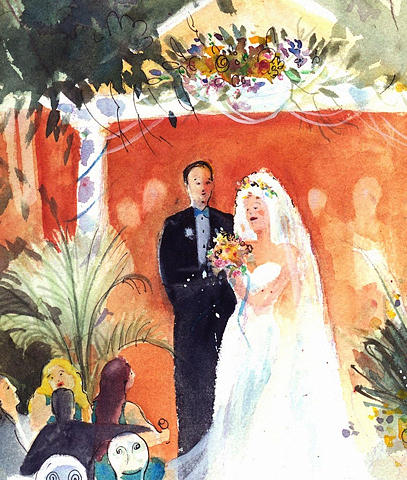 watercolor wedding painting by gertrude palmer
