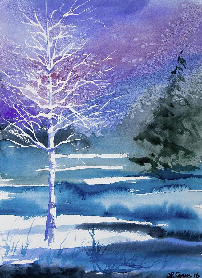 Aspen Painting - Watercolor - Winter Aspen by Cascade Colors