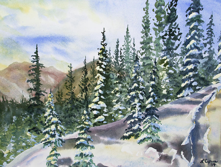 Landscape Painting - Watercolor - Winter Snow-covered Landscape by Cascade Colors